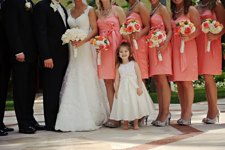 Coral Bridesmaid Dresses With Silver Necklace And Shoes Coral