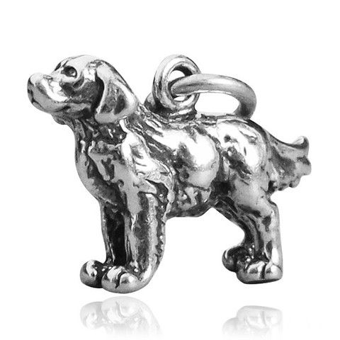 Sterling Silver Golden Retriever Dog Charm Silver Star Charms