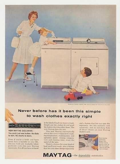 Maytag Automatic Washer Dryer Photo 1960 Retro Ads Vintage