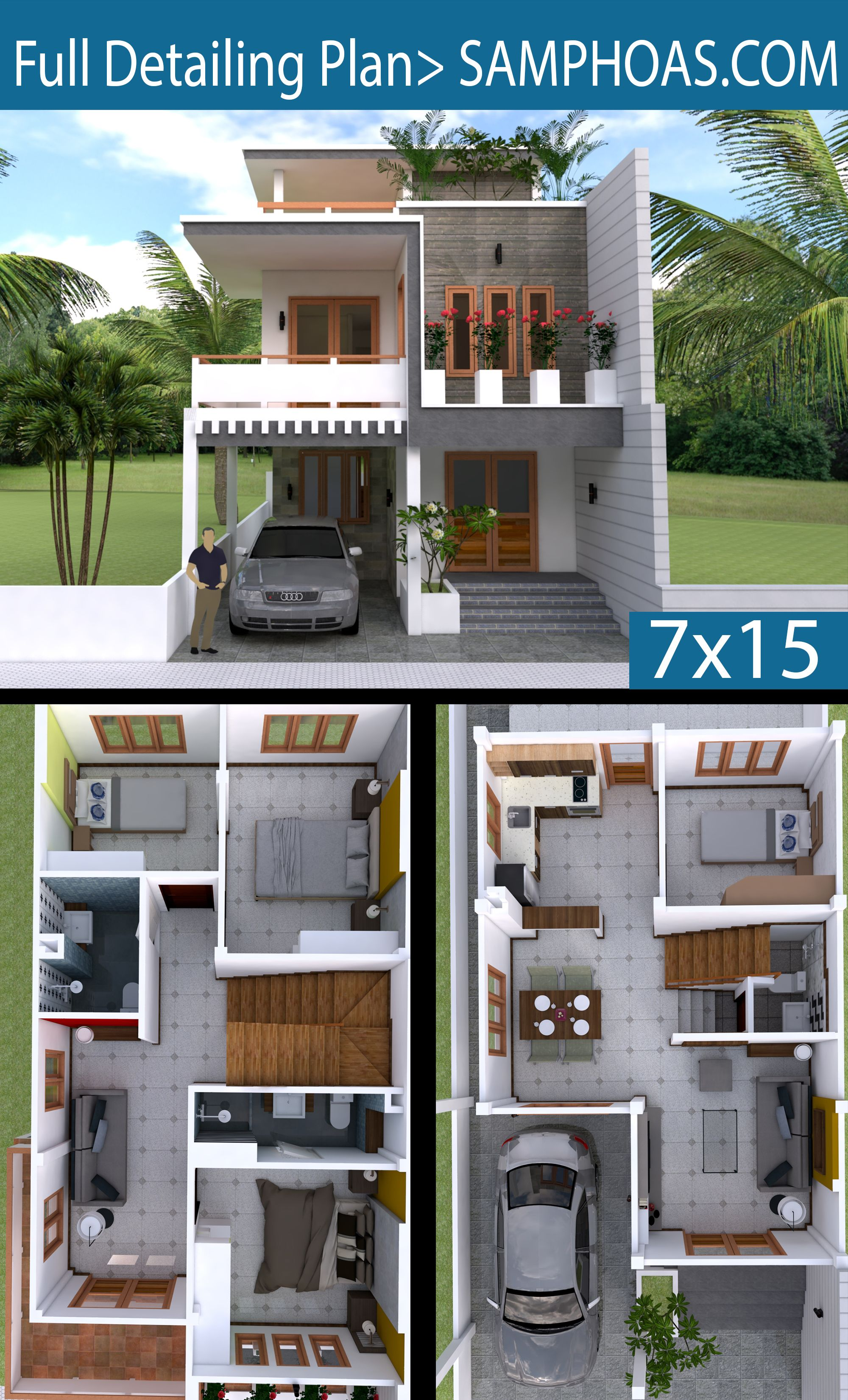 Interior Design Plan 7x15m Walk Through With Full Plan 4beds