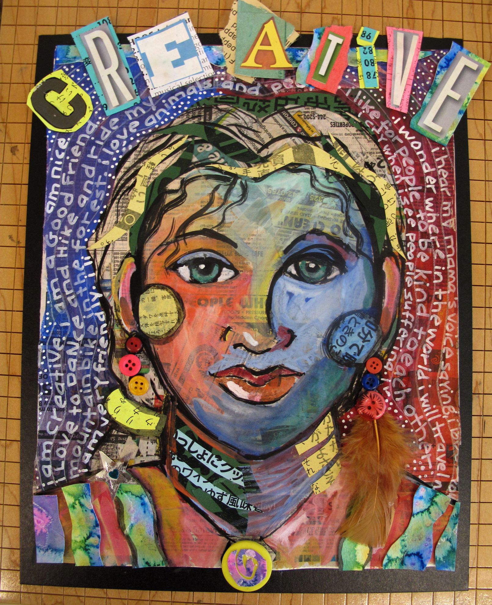 Mixed Media Selfportrait For Grade 5 In 2019 Middle School