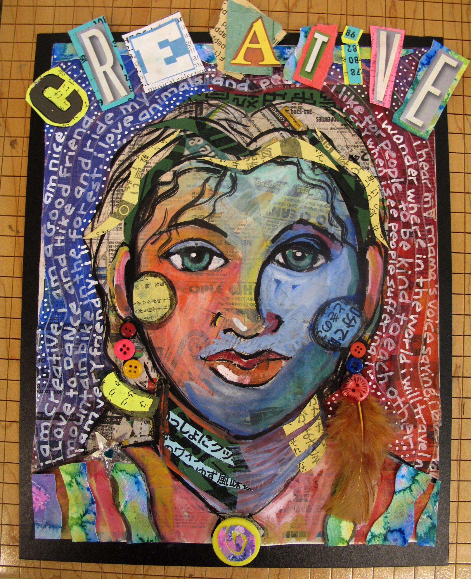 Mixed Media Selfportrait For Grade 5