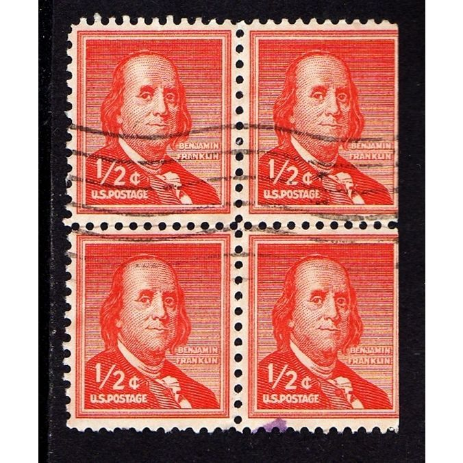 Block Of 4 Used 1954 1961 BENJAMINFRANKLIN Half Cent USA Postagestamps Scott No 1030