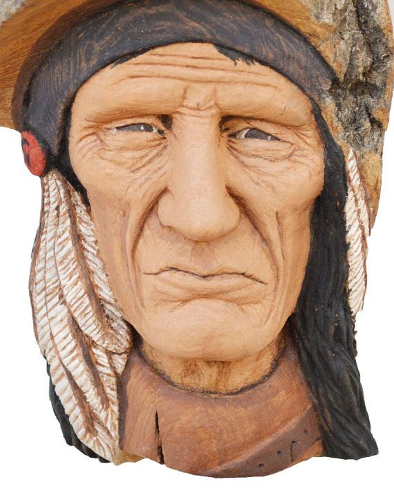Native american woodcarving indian by josh carte