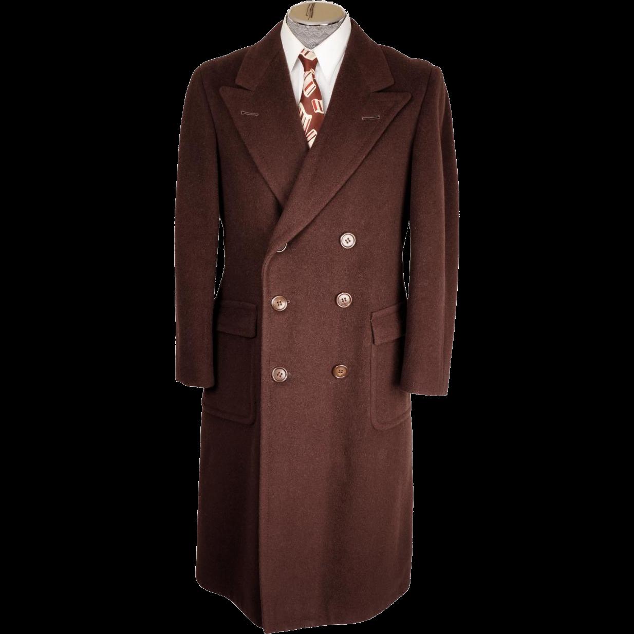 Mens Overcoat Vintage Men Long coat Wool Dark gray Made in West Germany