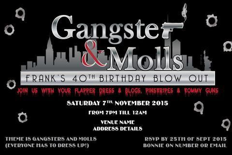 Mafia Digital Printable Invitation Template Gangster Moll - Adult birthday invitation template