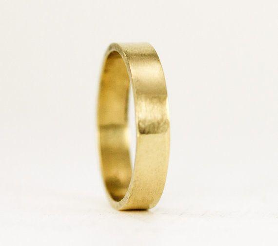 Flat Gold 4 X 1mm Wedding Ring 14k Or 18k Gold Wedding Band