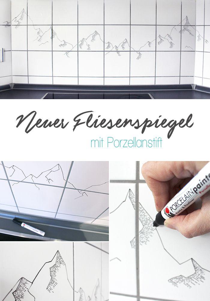 Do it yourself Neuer Fliesenspiegel mit Porzellanstift Room ideas - fliesenspiegel in der küche