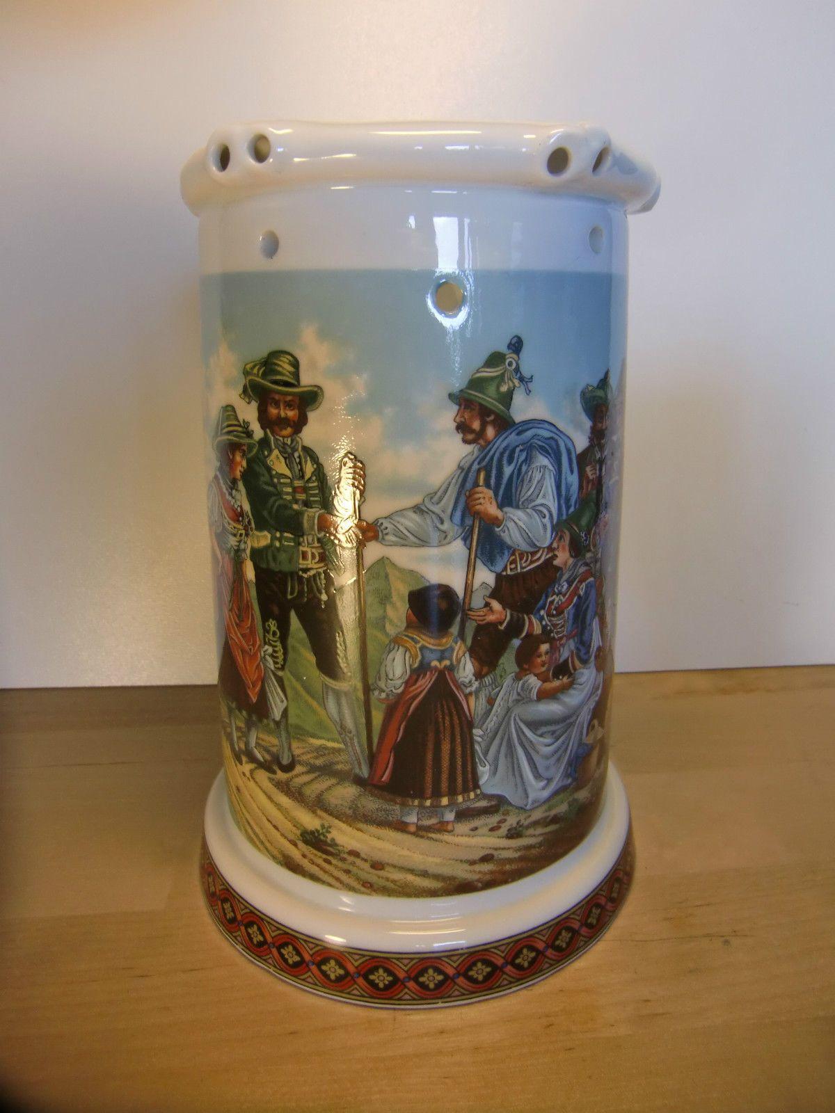 Porzellan Bierkrug mit Löchern Vexierkrug Bodenbild - 18 cm Ø 10,5 cm | eBay