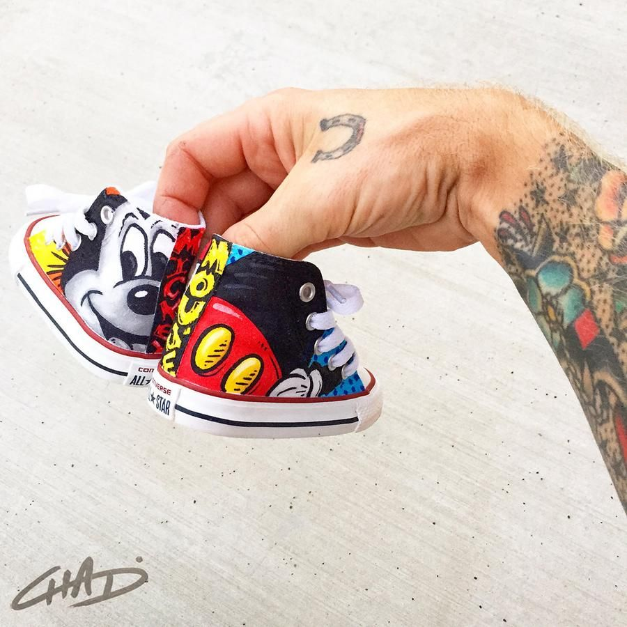 Custom Hand Painted Toddler Mickey Converse Chucks in 2019