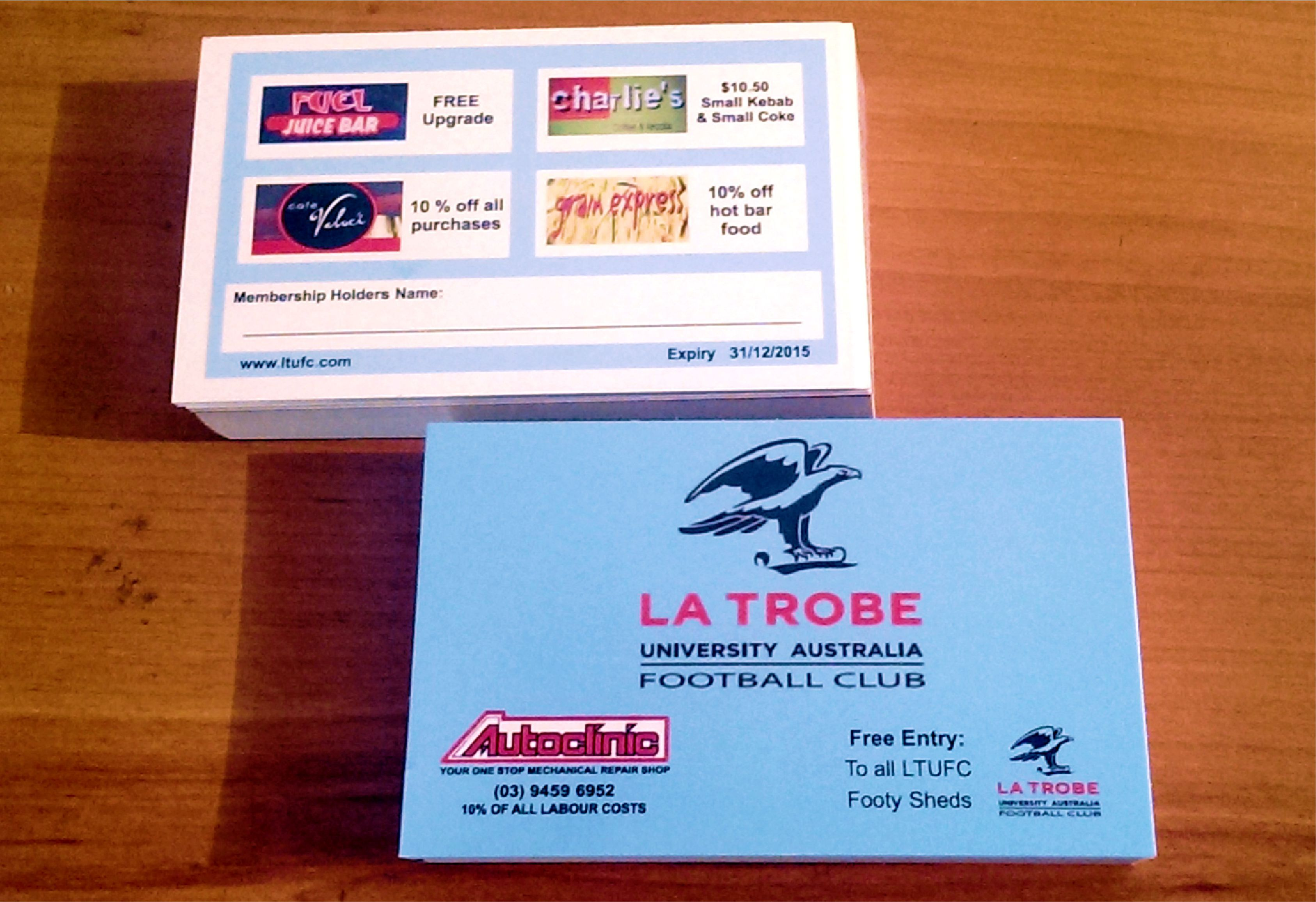 Membership cards printed by Tekneek Print and Design.