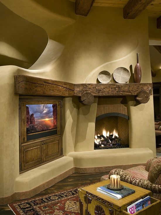 Via Houzz Swap T V And Fireplace For A Two Sided Kiva Adobe House Interior Design Rustic House Design