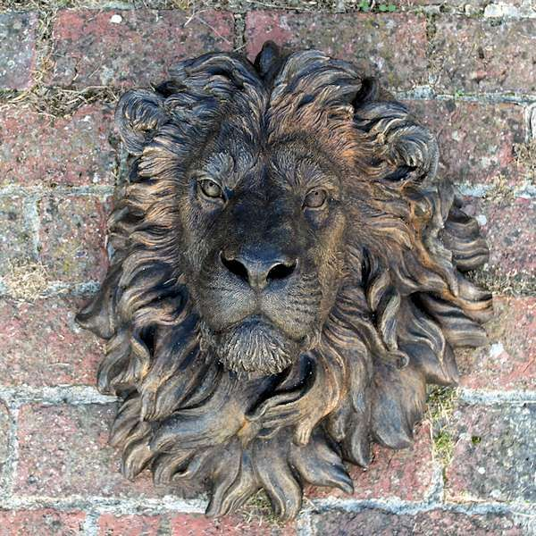 Stone Lions Head Plaque With Aged Bronze Effect Finish Stone Lion Lion Head Garden Wall Art