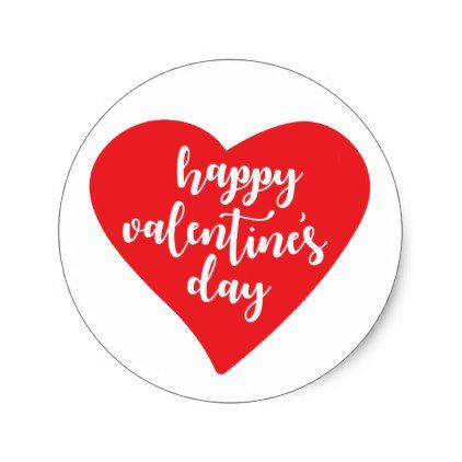 Happy valentines day watercolor heart classic round sticker watercolor heart round stickers and watercolor