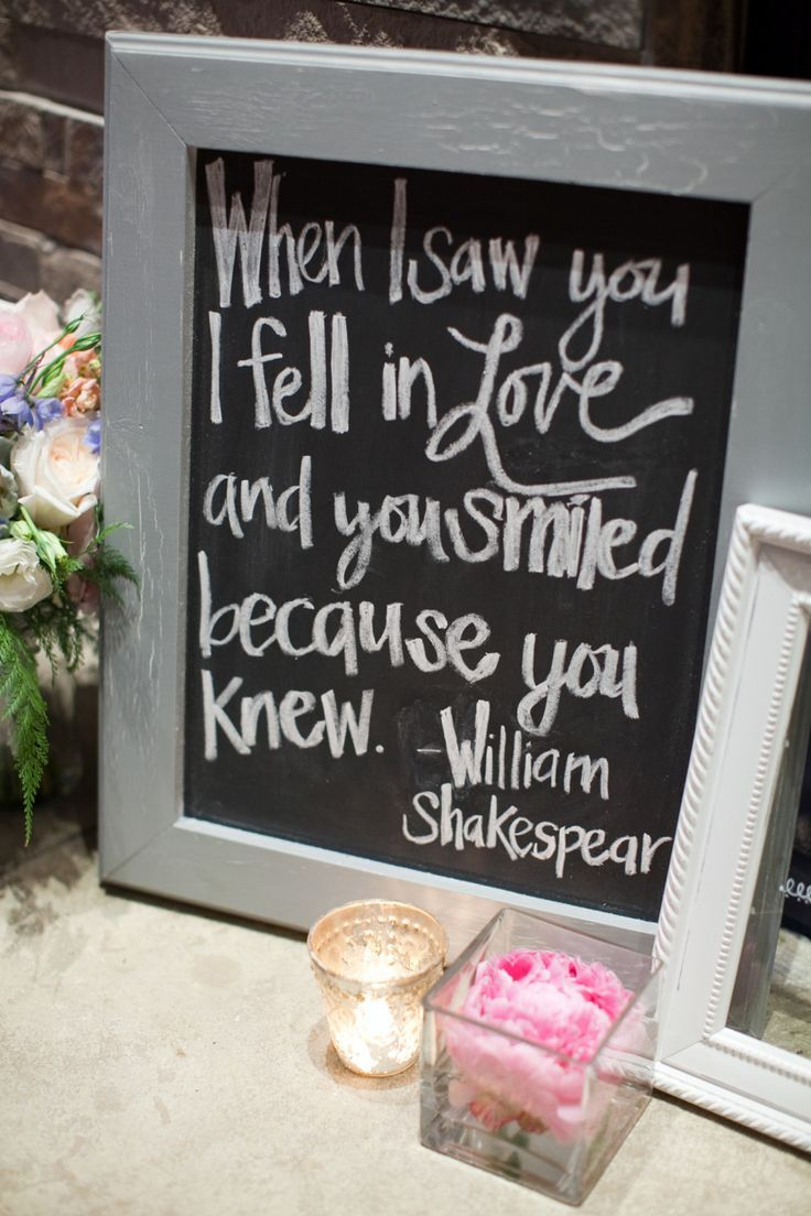 Unique wedding reception ideas for creative brides reception he says he fell in love with me because i smiled at him secret is i fell in love with him because he smiled back this quote is written on our chalkboard junglespirit Gallery