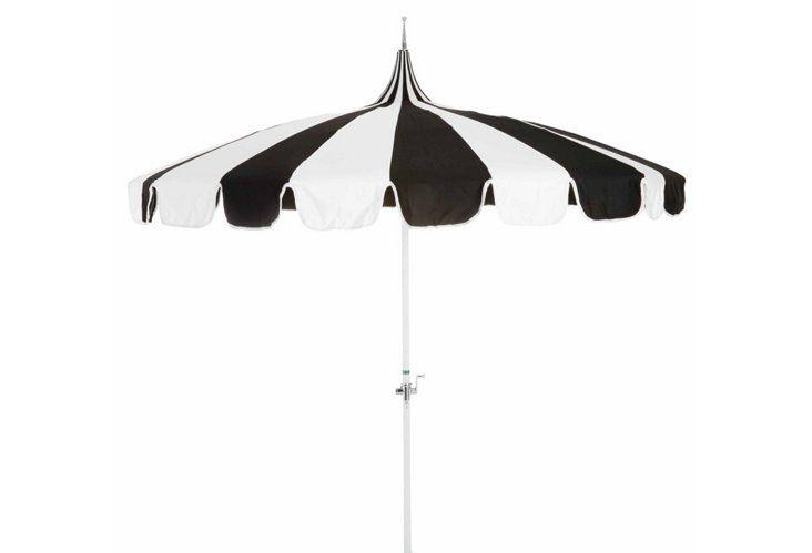 Genial Pagoda Patio Umbrella, Black/White