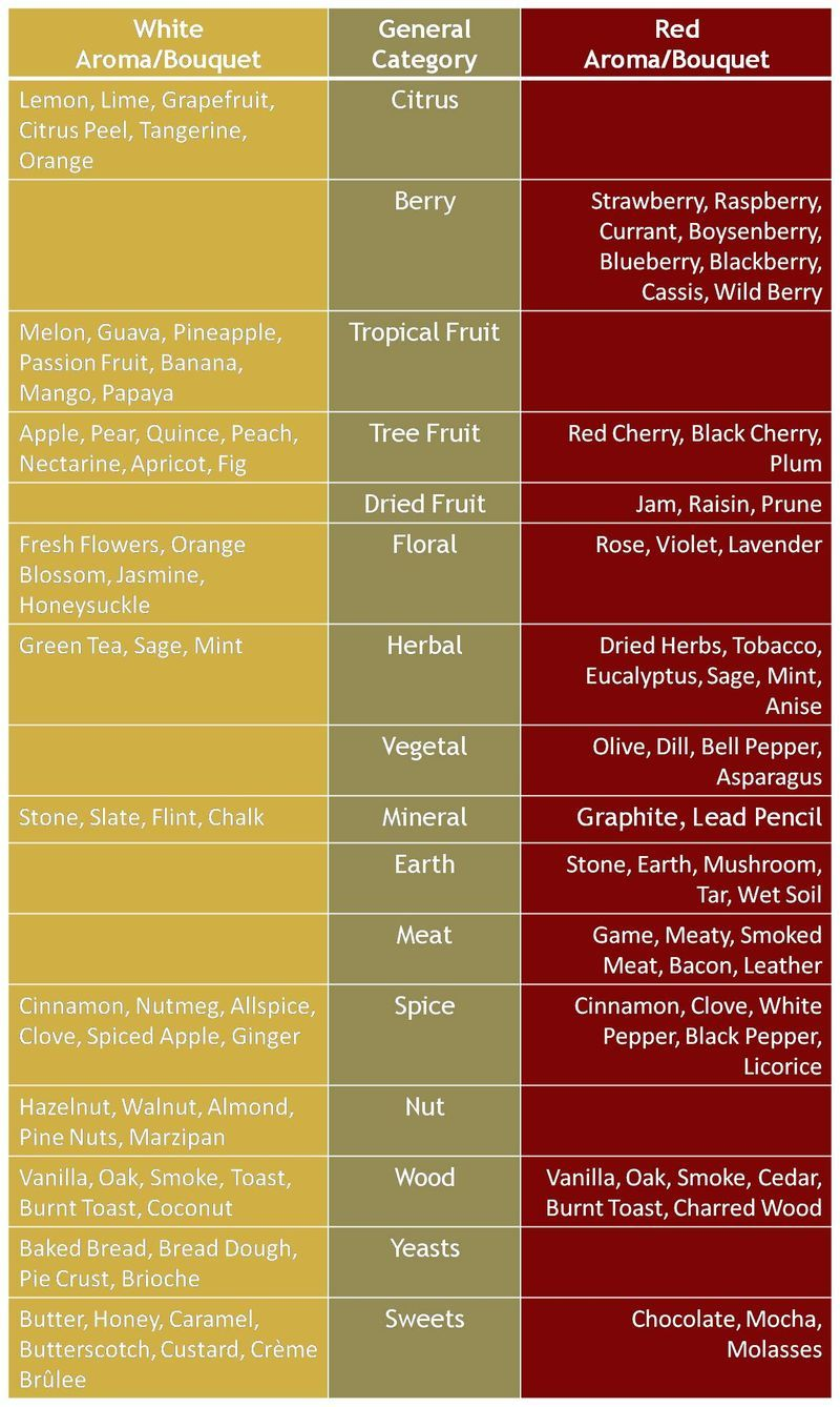 Chart Of Different Aromas Found In Red And White Wine For More Wine Education Visit Www Crystalpalate Com Cata De Vinos Vinos Vino
