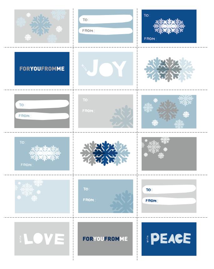 Printable Blue & Grey Holiday Gift Tags