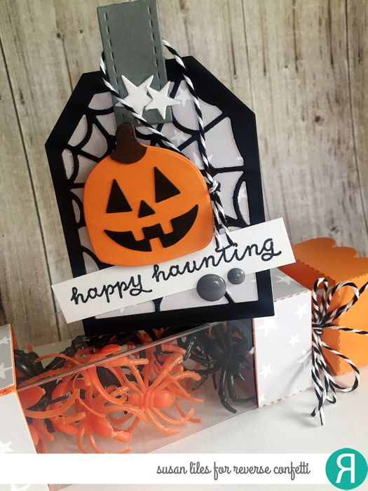 Halloween party favors by Susan Liles. Reverse Confetti stamp set: Treat Yo' Self. Confetti Cuts: Web Tag Layer, Halloween Bits, Treat Tube Topper and Happy Harvest (acorn turned upside down to make the pumpkin). Other: Charcoal twine and Fright Night 6x6 paper pad. DIY Halloween treat box.