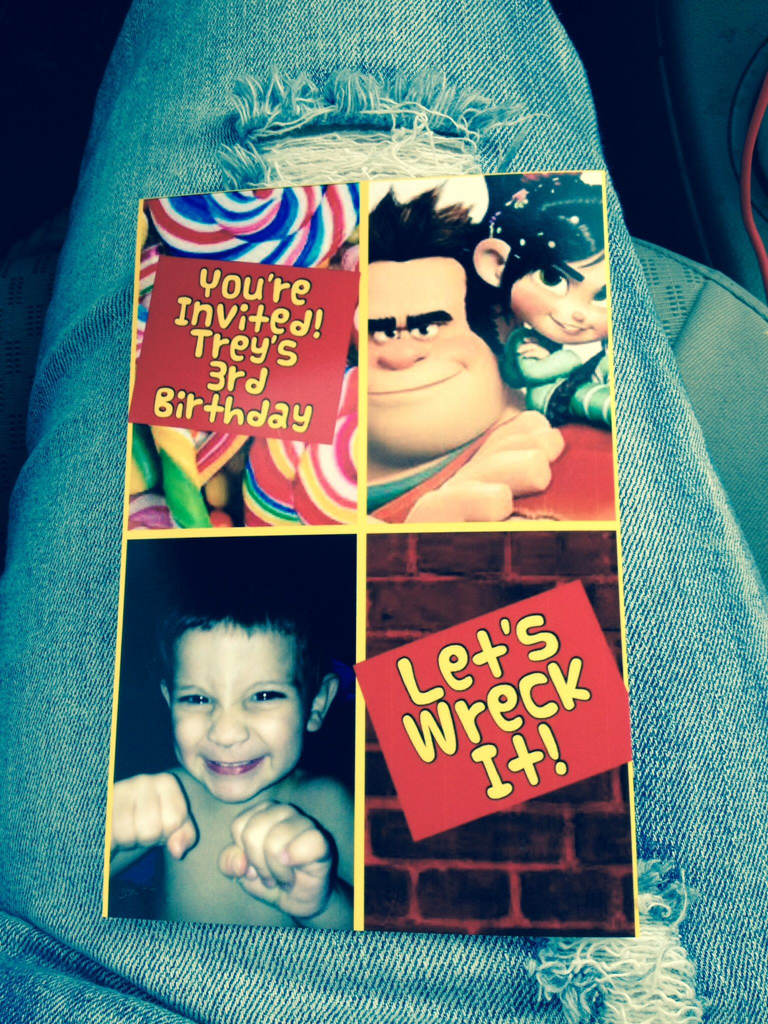 3rd Birthday Invitation For Wreck It Ralph Party Made With Photo Collage App On IPhone Ordered Snapfish