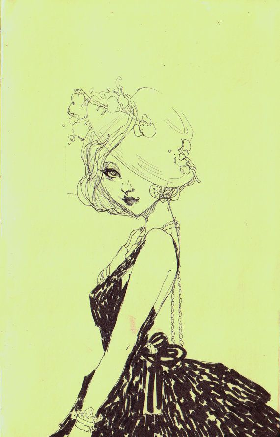 Girl sketch by helicewen on Etsy, $12.00