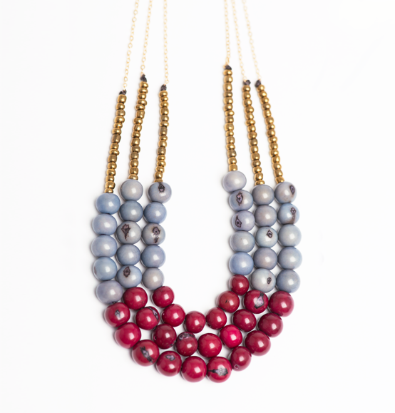 Palora Necklace of açaí, clay beads, brass hardware and chain handmade by artisans in rural communities of Ecuador