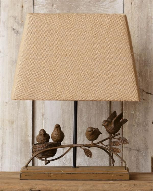 New Cottage Chic Bird Nest Branch Lamp Burlap Shade Electric Table Light Yhd Country Lamp Table Lamp Tiffany Style Table Lamps