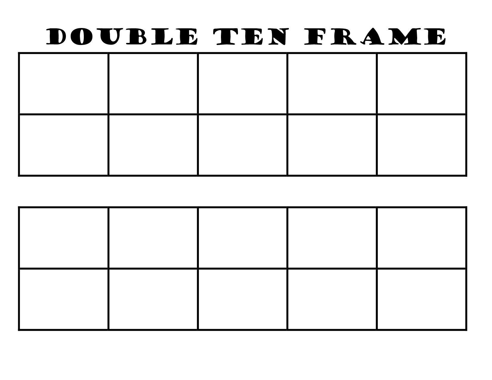 graphic relating to Ten Frame Printable called Blank Double 10 Body Printable Math Body template