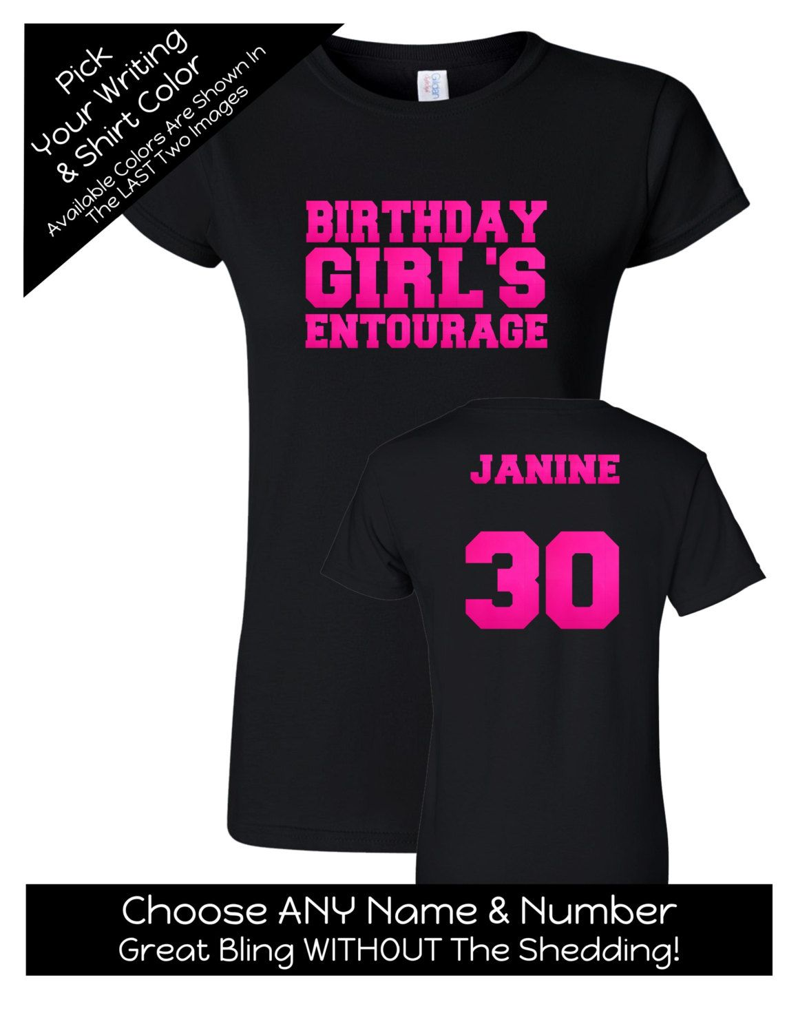 e766689ea Birthday Girl's Entourage Shirt - Personalize the Name Number on the Back - Birthday  Party Matching Shirts - Entourage Shirts by MagicalMemoriesbyJ on Etsy