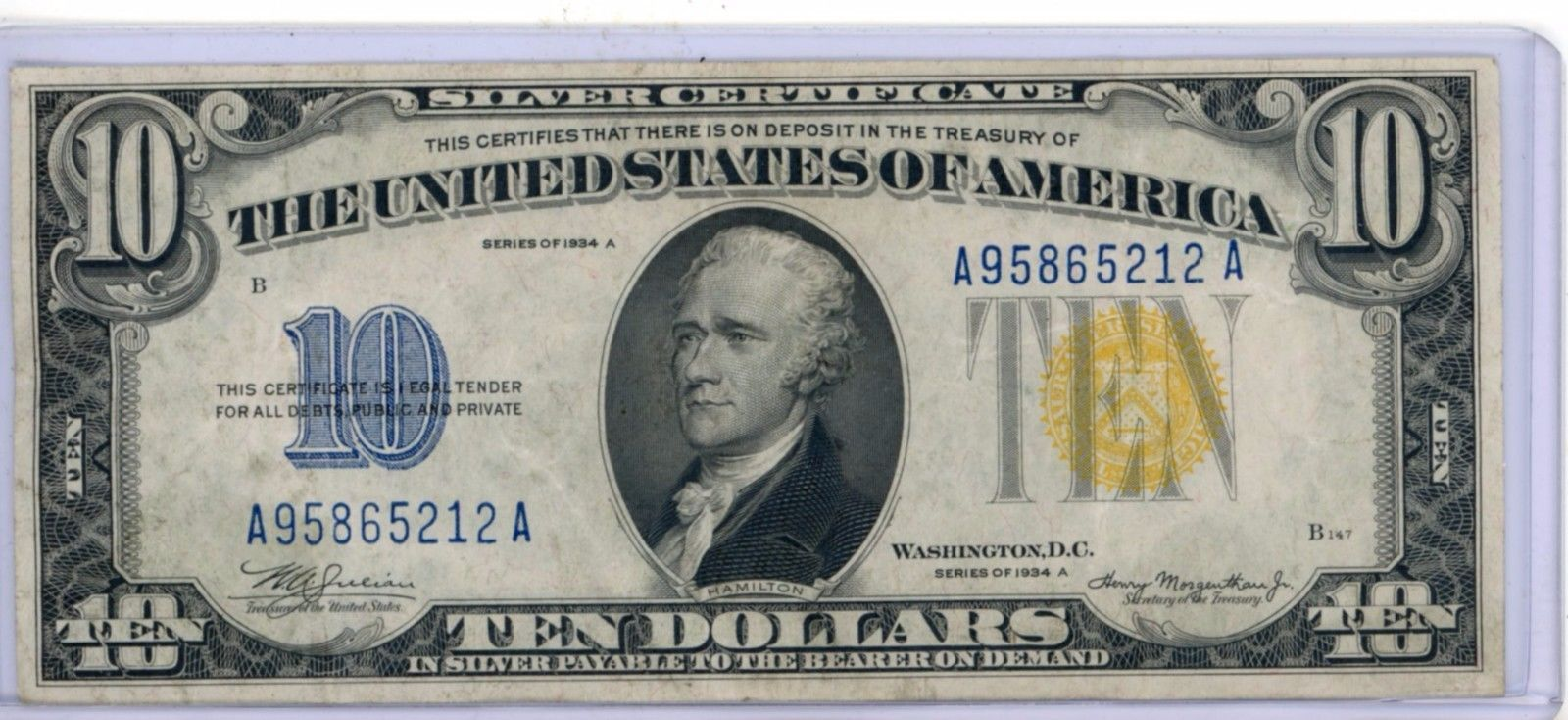 1934 A Series North Africa Wwii 10 Ten Dollar Silver Certificate