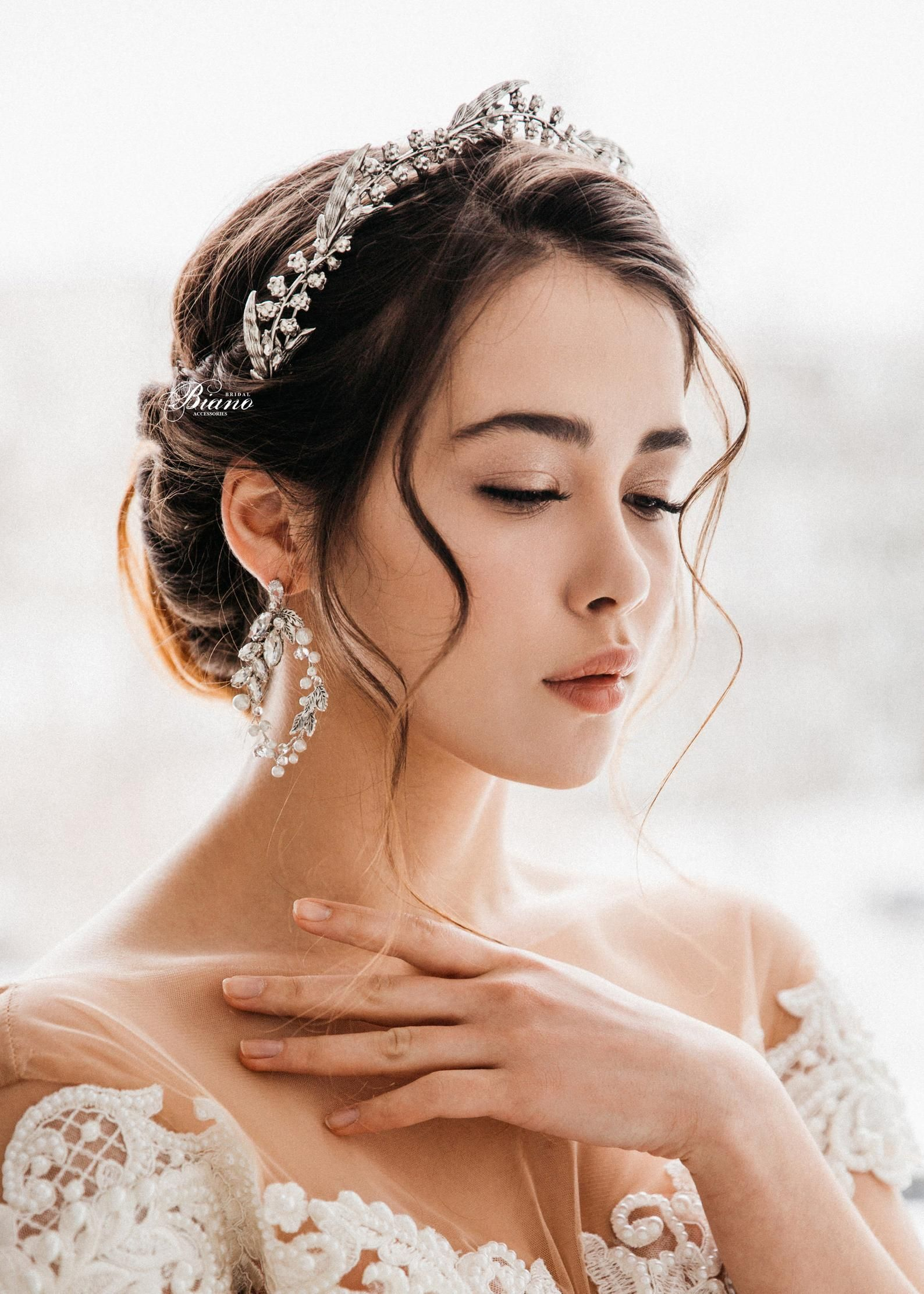 bridal silver tiara, wedding leaf tiara, wedding crown