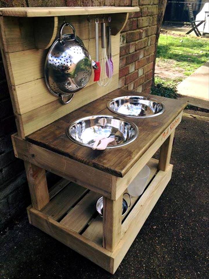 Wooden Kitchen Projects ~ Pallet outdoor kitchen or kids mud g