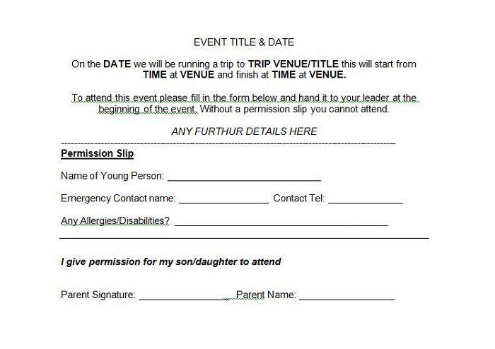 35 Permission Slip Templates Field Trip Forms Permission Slip