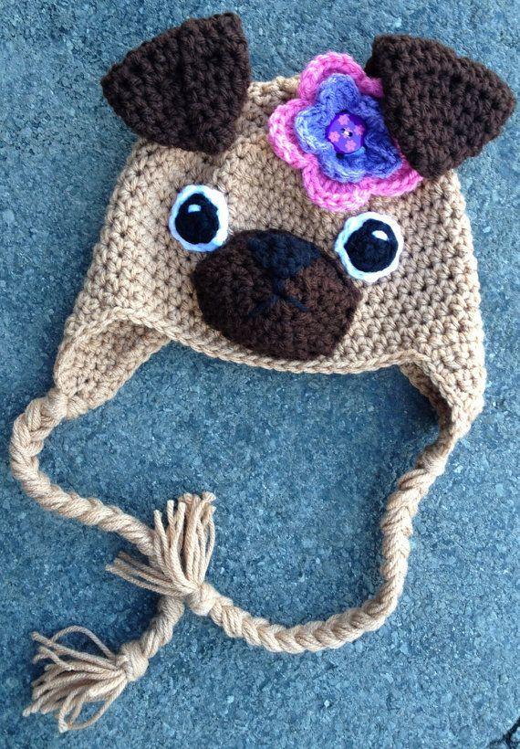 Crochet Pug Earflap Beanie Hat - Etsy $20.00 | bebês | Pinterest ...