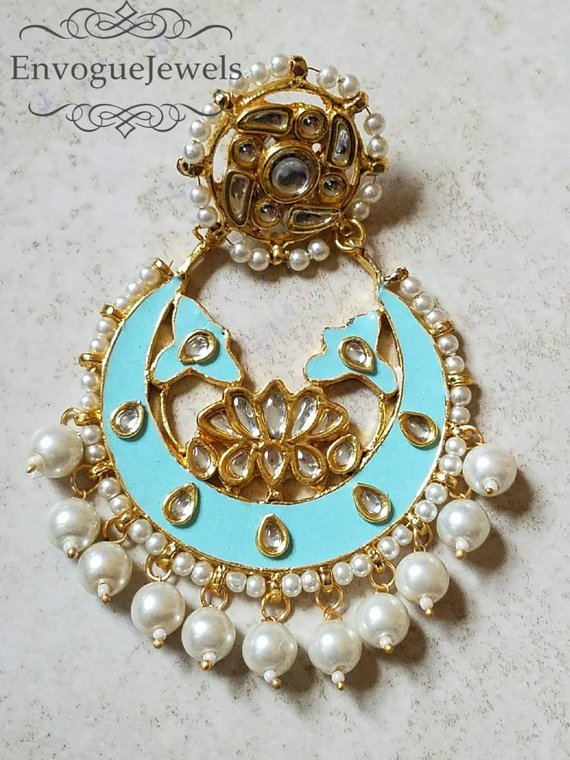 3089976f4 Kundan earrings, Indian jhumka , Chandbali, Bollywood earrings, Meenakari,  Pakistani jewelry, Kunda