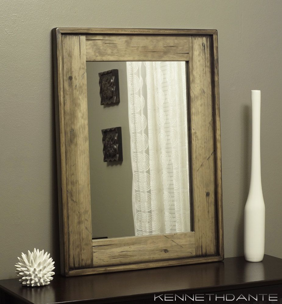 Rustic Wooden Mirror Distressed