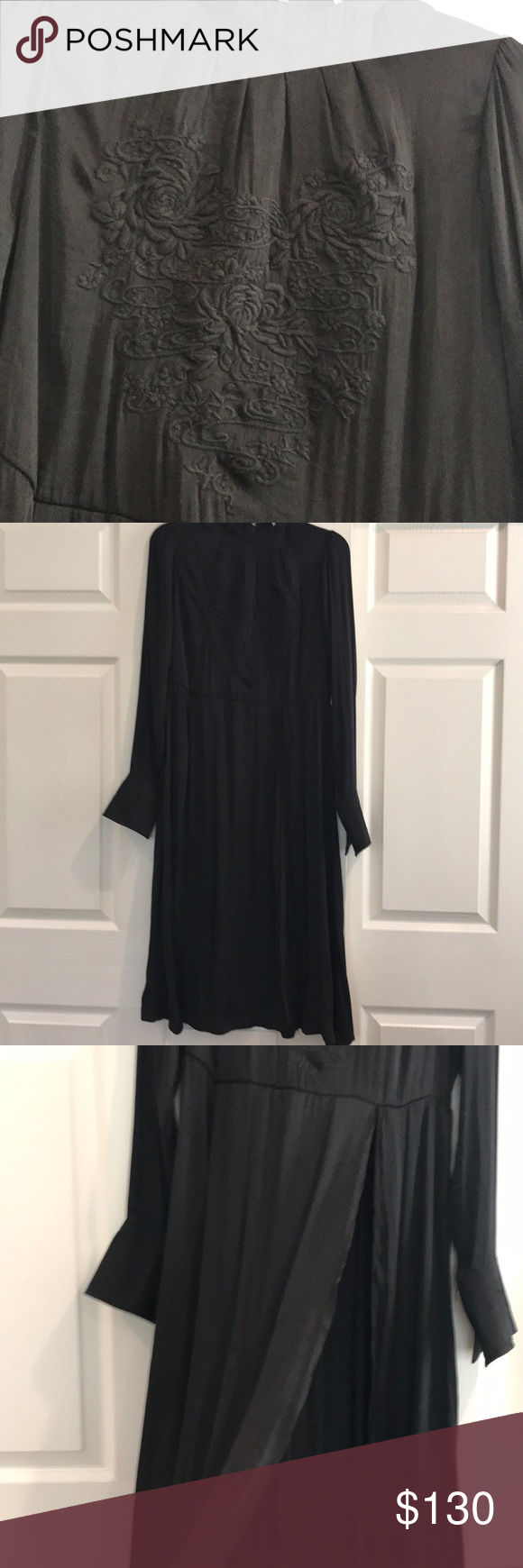 Free people black flowy dress wdeep slit xs nwt my posh picks