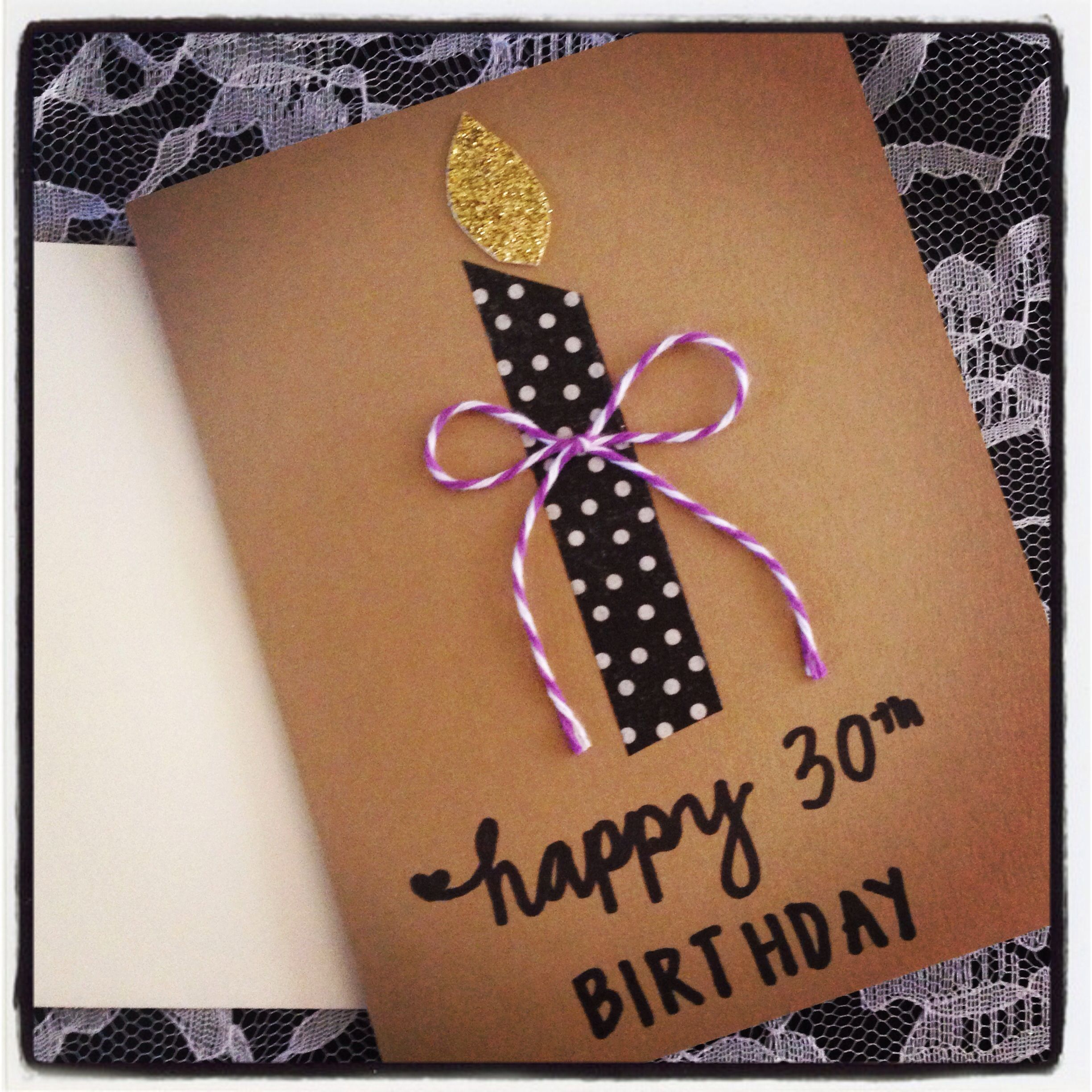 Easy Birthday Cards For Sister ~ Easy diy th birthday card using washi tape glitter paper kraft stock twine and black