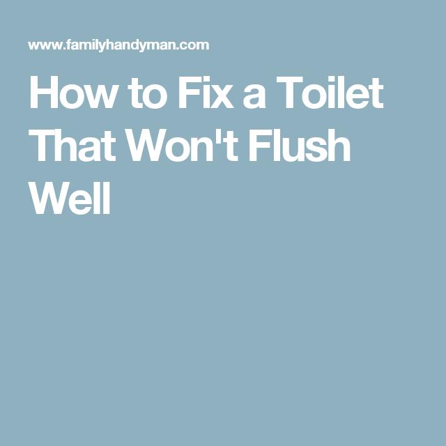 How To Fix A Toilet That Won T Flush Well Flush Toilet Fix It