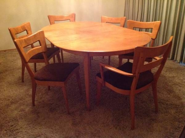 Heywood Wakefield Round Table 6 Dogbone Chairs With Images