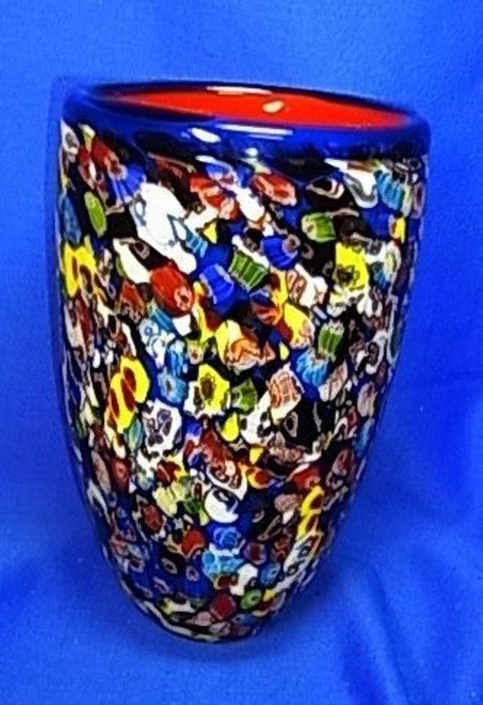 Beautiful Big Murano Milefiori Art Glass Vase 8 7 8 Rare