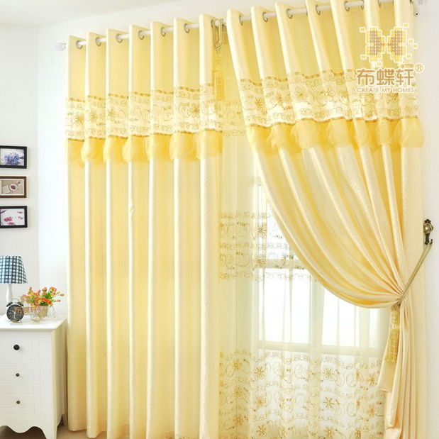 yellow curtains for living room. Room  Light Yellow Embroidered Noble Living Curtains See more at