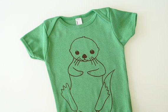 Baby otter onesie  green 612 mo by eggagogo on Etsy, $18.00