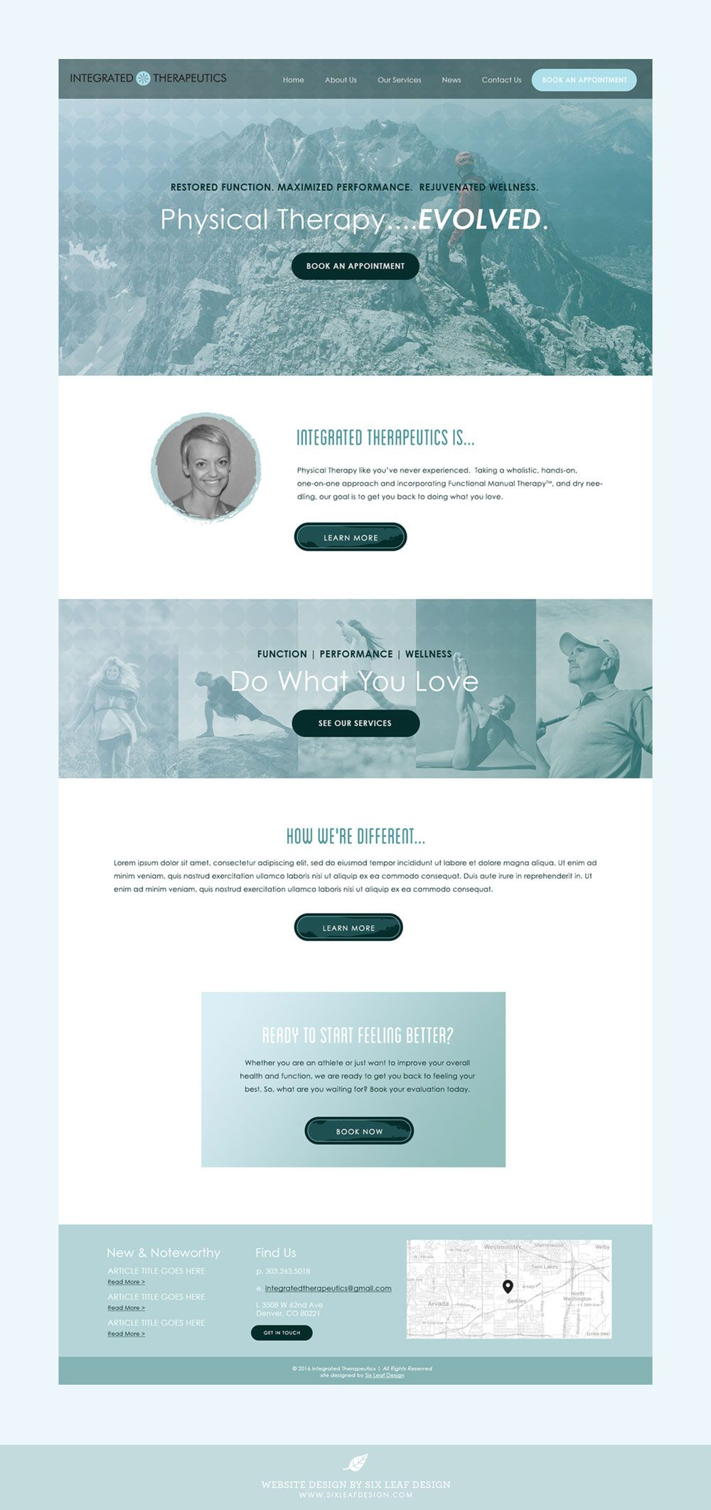 Integrated Therapeutics Website Design Six Leaf Design Logo Branding Graphic Web Designer Denver Colorado Therapy Website Design Website Design Homepage Design
