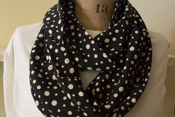 Black polka dot lightweight infinity scarf by MomAndMeStitch, $15.00
