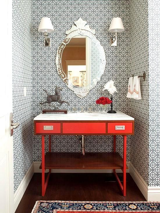 Remodeling your powder room? Think of your powder room as a blank palette, the perfect room to experiment with wallpaper patterns and bold/bright colors. Don't be afraid to mix patters and textures, but also make sure you offset the space with a sufficient amount of lighting as well as white accents.