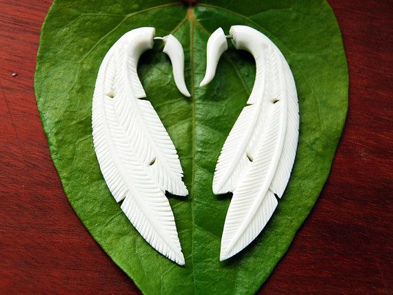 Fake Gauges - Double Feather Bone Earrings    A great new addition. Beautifully hand carved on both side from salvaged water buffalo bone bone.  The