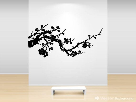 Blossom Tree Extra Large Wall Decal Japanese Cherry Blossom: Japanese Cherry Blossom Branch Silhouette Wall Sticker