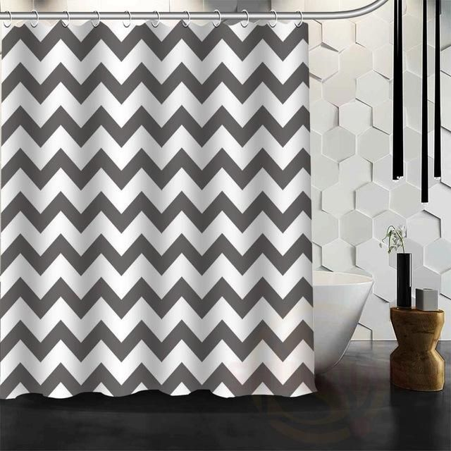 Colorful Chevron Print Waterproof Fabric Shower Curtain
