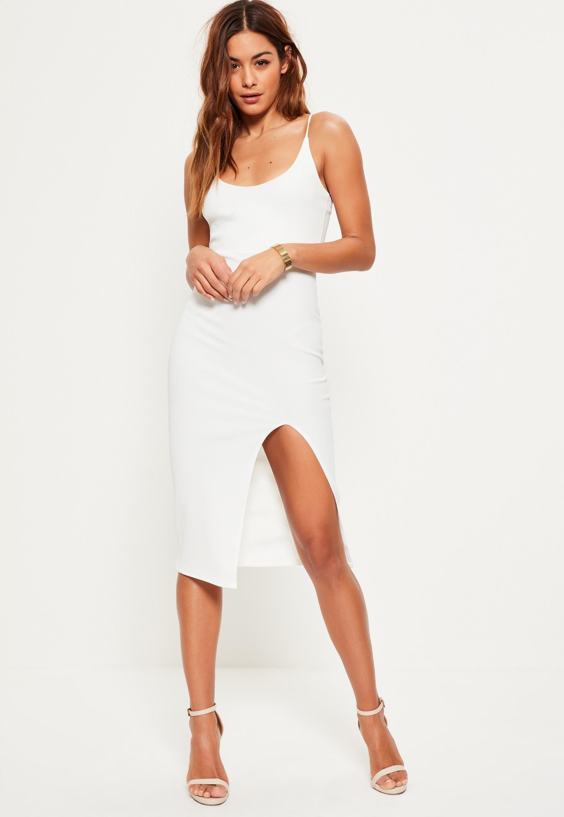 17cf35914c White Strappy Scoop Neck Midi Dress in 2019 | Dresses for beach ...